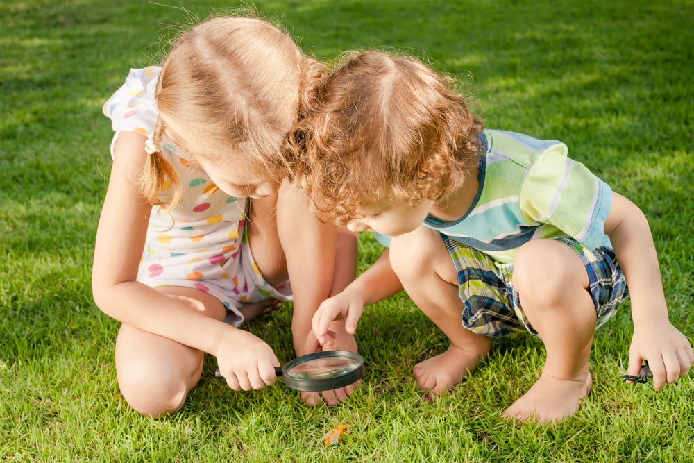 Two little kids playing with magnifying glass outdoors in the d